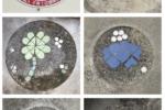 保育園のロゴと各クラスのロゴを駐車場のコンクリート土間にタイルでデザイン