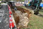 床掘し、栗石敷期状況